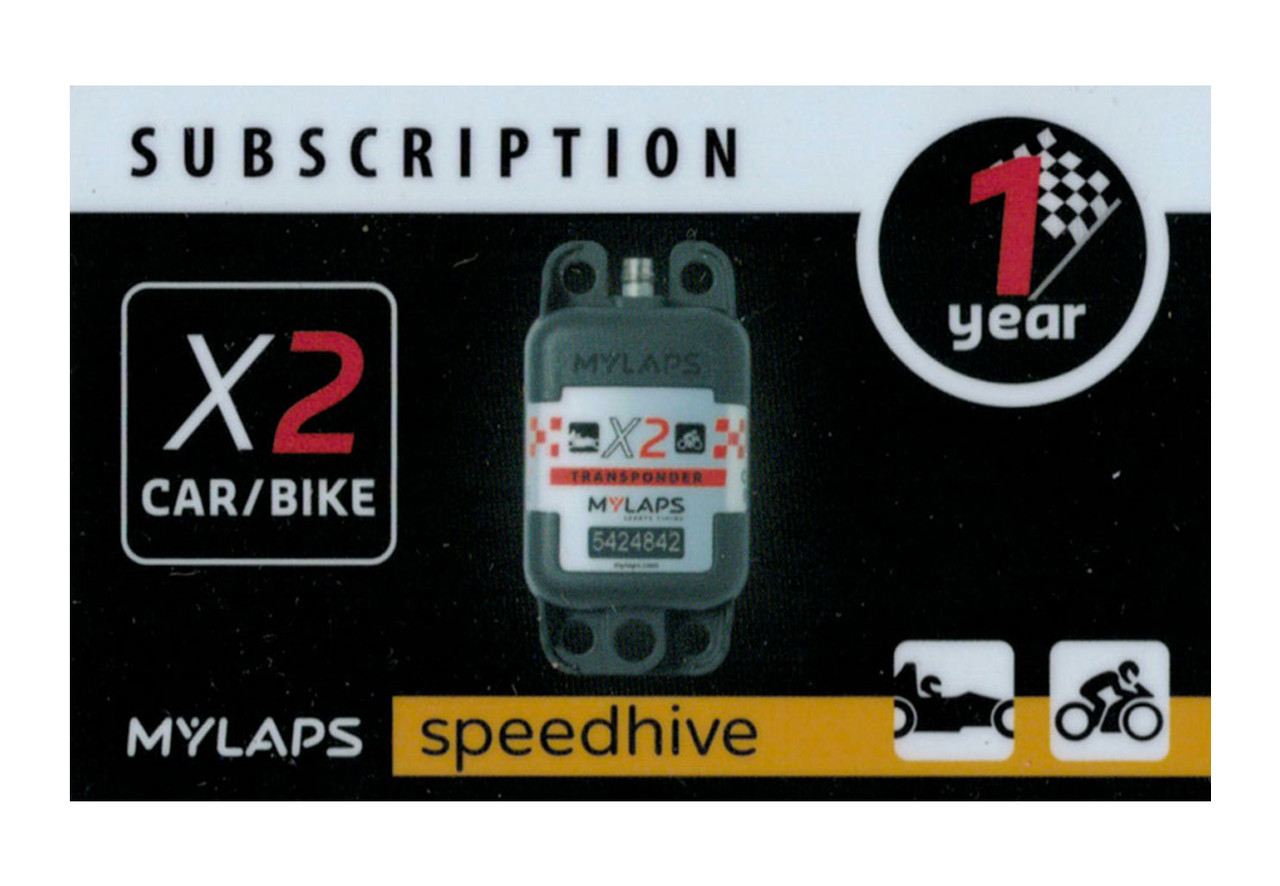 MyLaps X2 subscription renewal, 1-year car/bike [Renew instantly @ X2renew.com]
