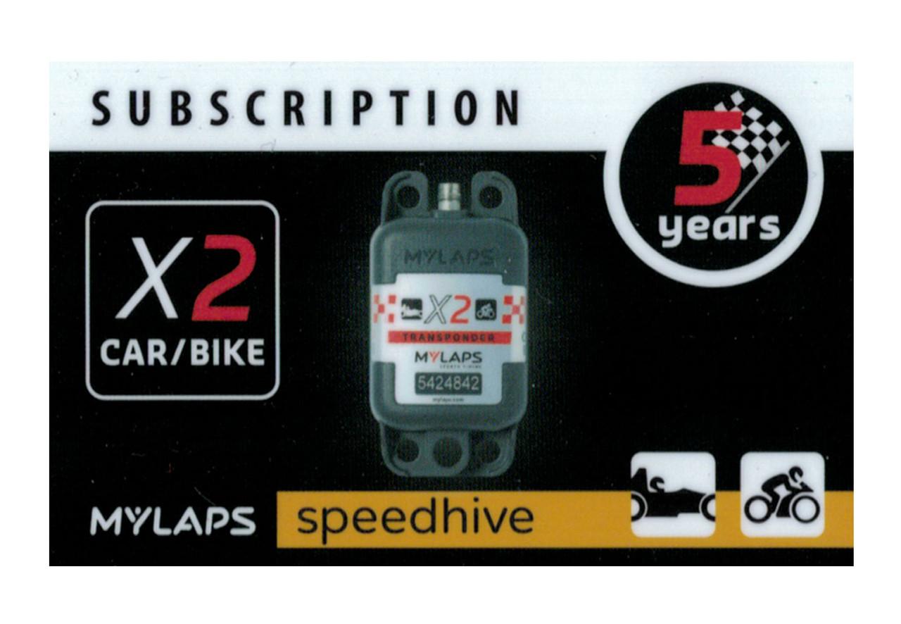 MyLaps X2 subscription renewal, 5-year car/bike [Renew instantly @ X2renew.com]