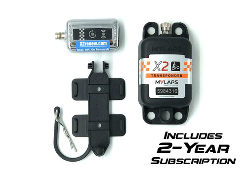 MyLaps X2 Rechargeable Transponder (Motocross/MX), 2-year subscription