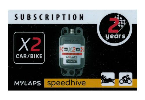 MyLaps X2 subscription renewal, 2-year car/bike [Renew instantly @ X2renew.com]