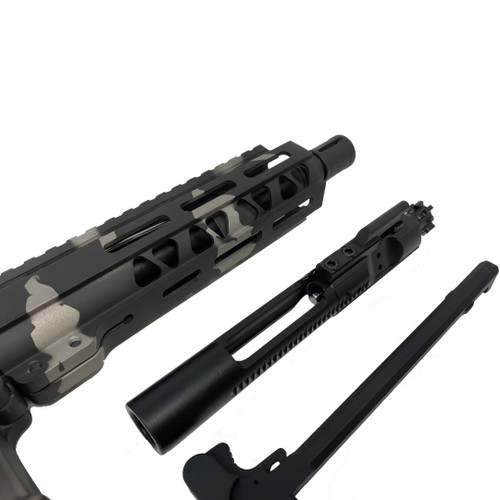 AR-15 Black and Silver Camo Pistol Kit 7.5 Nitride Barrel, 7 M-Lok Rail w 80% Lower Receiver