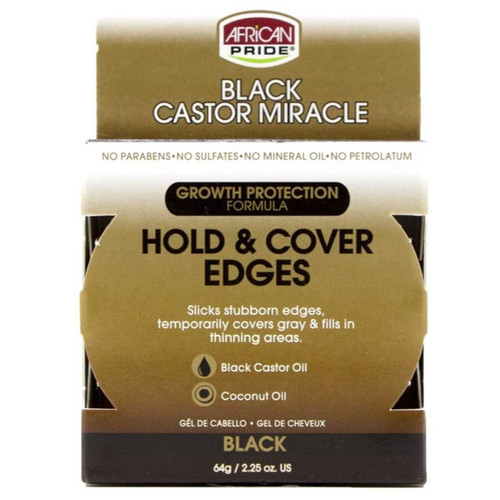 African Pride | Black Castor Miracle | Hold & Cover Edges | Black (2.25oz)