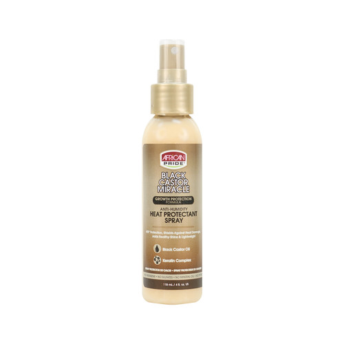 African Pride | Black Castor Miracle | Anti-Humidity Heat protectant Spray(4oz)