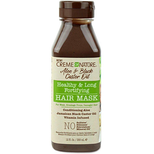 Creme Of Nature | Aloe & Black Castor Oil | Healthy & Long Fortifying Hair Mask(12oz)