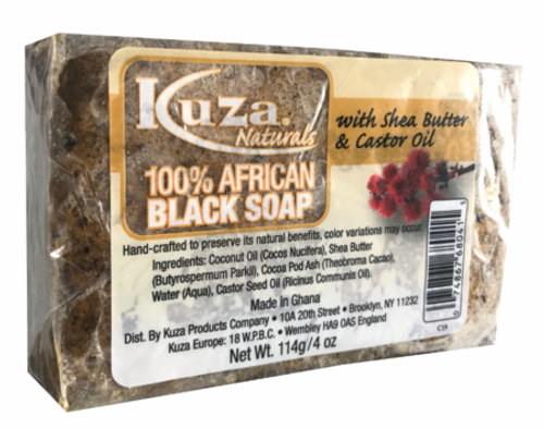 Kuza Naturals 100% African Black Soap with Shea Butter & Castor Oil4 oz