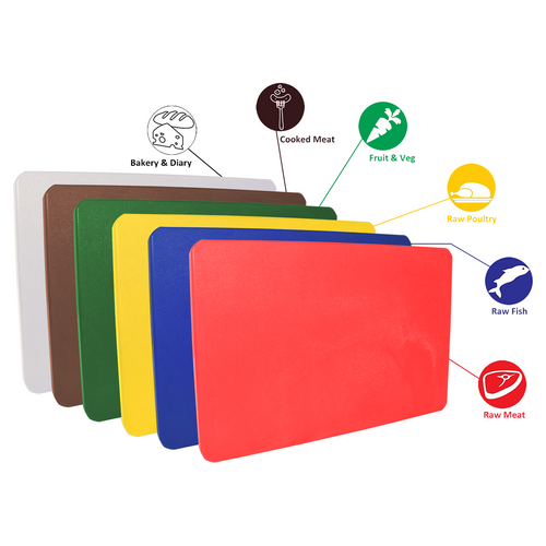 Cutting Boards Pack of 6 Colour Coded s- Heavy Duty 20mm thick