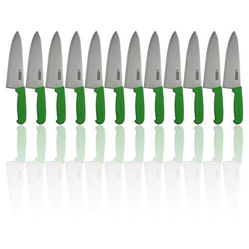 """Box of 12 - 8"""" Chef's Kitchen Knife - Green PP Handle"""