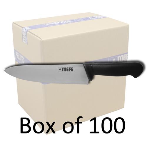 "Box of 100 - 9"" Butcher's / Chef's Kitchen Knife - Black PP Handle"