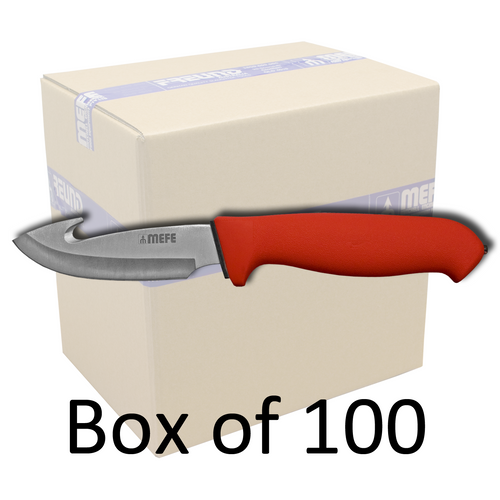 """Box of 100 - 4.5"""" Skinning Gut Hook Knife - Red Double Soft Grip Handle"""