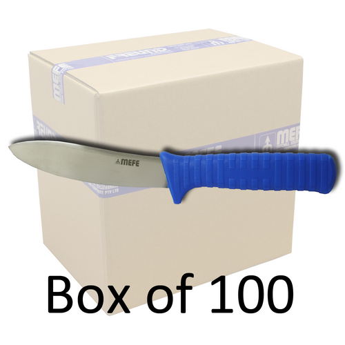 "Box of 100 - 5"" Skinning Knife - Ribbed Blue Fibrox Handle"
