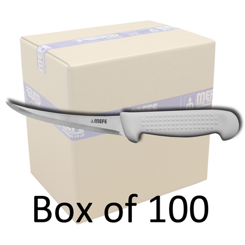 "Box of 100 - 6"" Hollow Ground Curved Boning Knife - Beaded White Fibrox Handle"