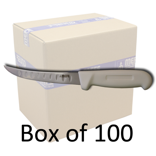 "Box of 100 - 6"" Curved Boning Knife - White Fibrox Handle & Fluted Blade"