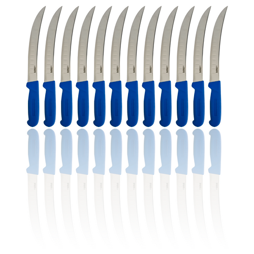 "Box of 12 - 8"" Curved Breaking Fillet Knife - Blue Fibrox Handle & Fluted Blade"