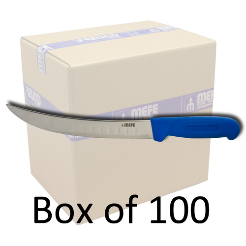 "Box of 100 - 8"" Curved Breaking Fillet Knife - Blue Fibrox Handle & Fluted Blade"