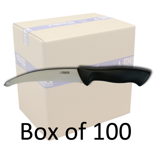 "Box of 100 -  5.5"" Tripe Offal / Skinning Knife - Stub Point Reverse Blade & Black Handle"