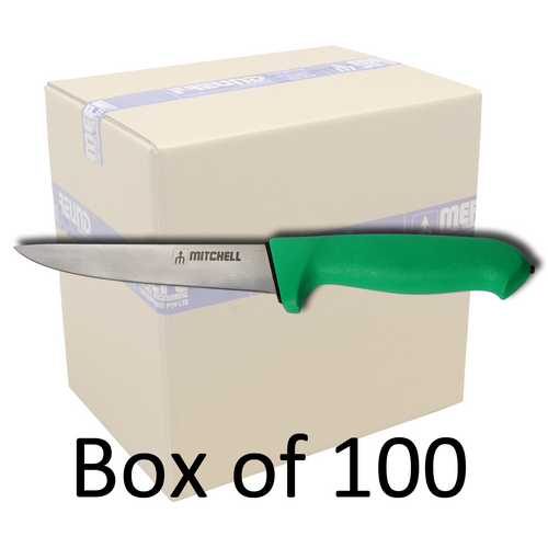 "Box of 100 -  6"" Straight Boning Knife - Green Double Soft Grip Handle"