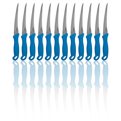 "Box of 12 - 7"" Flexible Filleting Knife - Blue TPE Handle - Hollow Ground Blade"