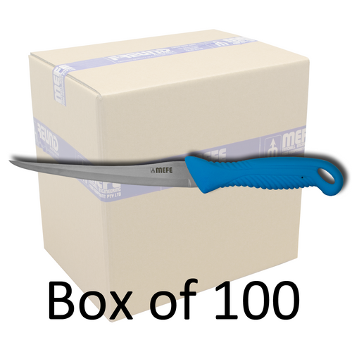 "Box of 100 - 7"" Flexible Filleting Knife - Blue TPE Handle - Hollow Ground Blade"