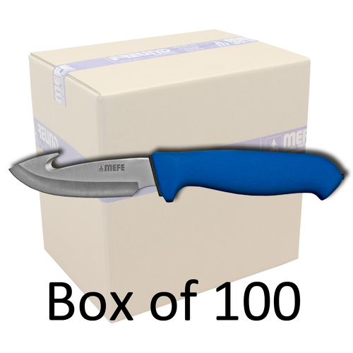 """Box of 100 - 4.5"""" Skinning Gut Hook Knife - Blue Double Soft Grip Handle"""