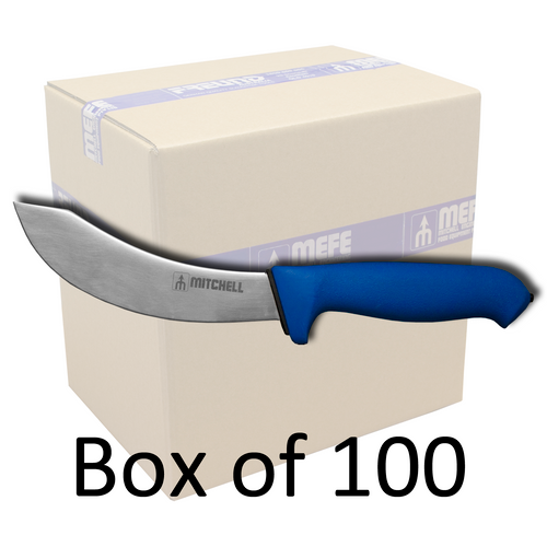 """Box of 100 -  6"""" Skinning Knife - Blue Double Soft Grip Handle"""