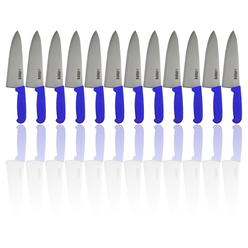 """Box of 12 - 8"""" Chef's Kitchen Knife - Blue PP Handle"""