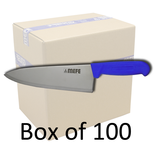"""Box of 100 - 8""""/20cm Chef's Kitchen Knife - Blue PP Handle"""