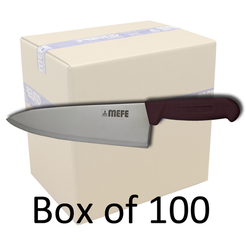 """Box of 100 - 8""""/20cm Chef's Kitchen Knife - Brown PP Handle"""