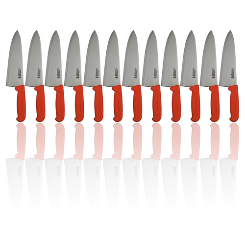 """Box of 12 - 8"""" Chef's Kitchen Knife - Red PP Handle"""