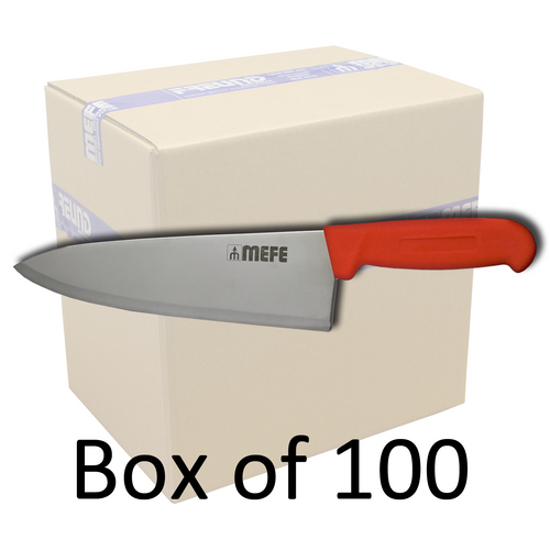 """Box of 100 - 8""""/20cm Chef's Kitchen Knife - Red PP Handle"""