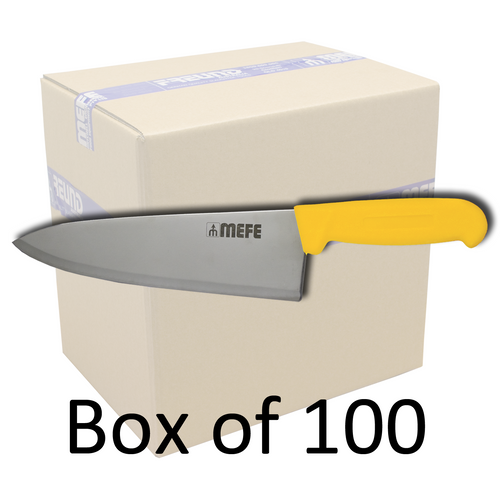 """Box of 100 - 8""""/20cm Chef's Kitchen Knife - Yellow PP Handle"""