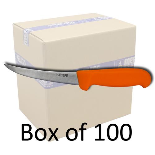 "Box of 100 - 5"" Curved Boning Knife - Orange Fibrox Handle"
