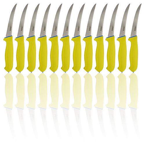 "Box of 12 - 5"" Curved Boning Knife - Yellow Soft Grip Handle"