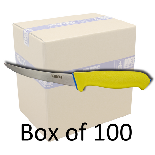 """Box of 100 - 5"""" Curved Boning Knife - Yellow Soft Grip Handle"""