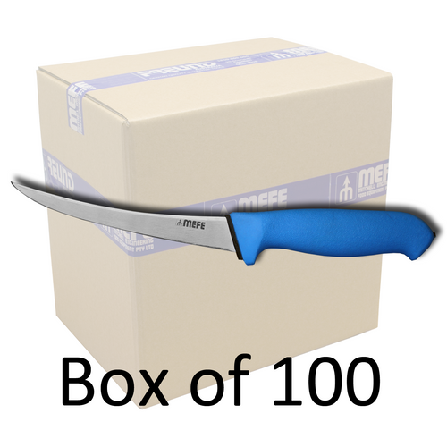 "Box of 100 - 6""/15cm Curved Boning Knife - Blue Soft Grip Handle"