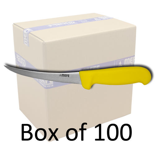 "Box of 100 - 6"" Flexible Curved Boning Knife - Yellow Fibrox Handle"