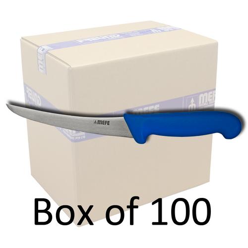"Box of 100 - 6"" Curved Boning  Knife - X Large Blue Fibrox Handle"