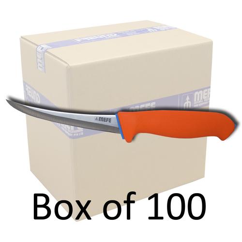 "Box of 100 - 6"" Curved Boning Knife - Hollow Ground - Orange Soft Grip Handle"