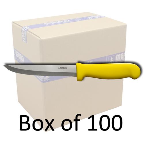 "Box of 100 - 6""/15cm Straight Boning Knife - Fibrox Yellow Handle"