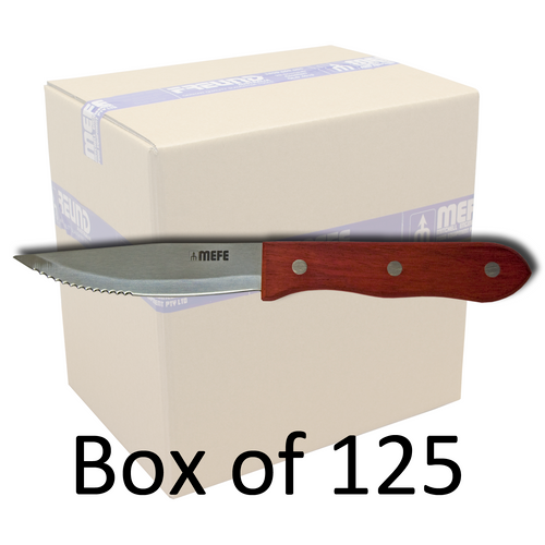 "Box of 125 - 5""/13cm  Restaurant Serrated Steak Knife - Wooden Handle"