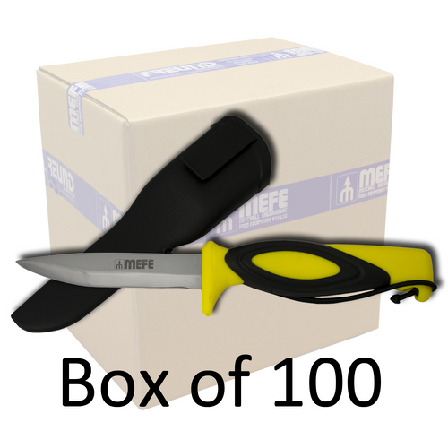 """Box of 100 - 4"""" Hunting / Fishing Knife With Cord And Sheath - Yellow Soft Grip Handle"""