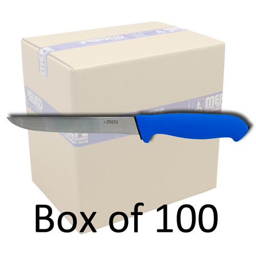 "Box of 100 - 7"" Straight Boning Knife - Blue Soft Grip Handle"