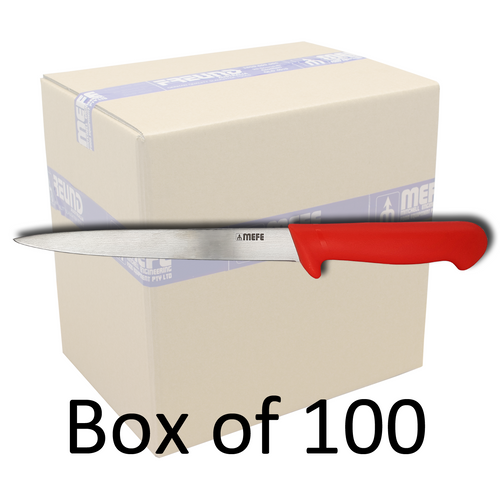 "Box of 100 - 8"" Hunting / Sticking Knife - Red Polypropylene Handle"