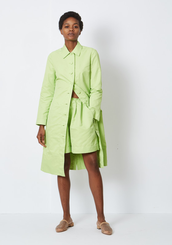 Maura Coat in Pistachio by Staud, available on shoplepoint.com for $275 Bella Hadid Outerwear Exact Product