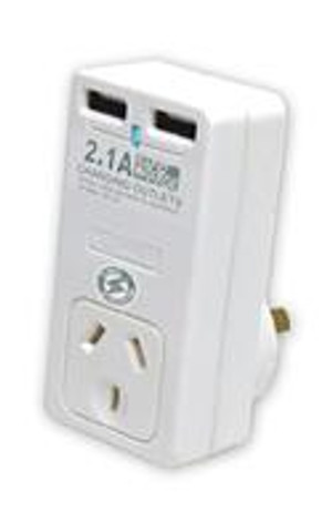 Surge Protected Power Adapter with 2 USB Charging Ports - 2.1Amp output with Rapid Charging