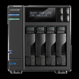 ASUSTOR AS6204T 4-Bay NAS, Quad-Core, 4GB DDR3L, GbE, USB 3.0, eSATA, HDMI WoL, AES-NI, Lockable Tray