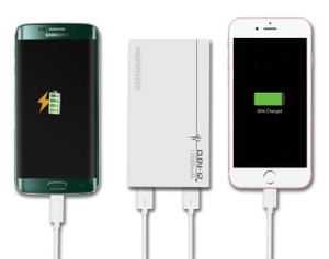 Promate 'Cloy-12' Premium 12000mAh Backup Battery/Dual USB ports for Smartphones/Tablets,White