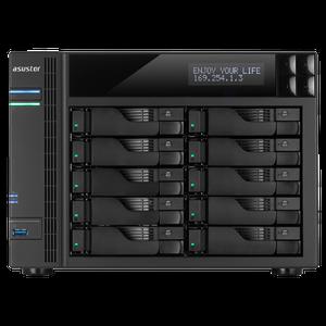 ASUSTOR AS6210T 10-Bay Tower NAS, Cel Quad-Core, 4GB, Up To 80TB, GbE/USB3/eSATA/HDMI/LCD (No HDD)