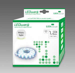 LEDware LED Flex Ribbon Strip Kit 12V 1.2m White LED/m Inc. Power Adapter