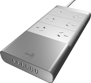 Aerocool ASA Aluminium Powerboard 6 Outlet Surge Protector and 6 USB Port Fast Charger