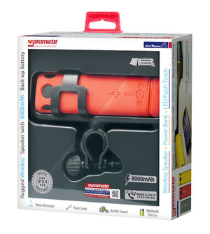 Promate 'BikerMate' 'Rugged Bluetooth v4.0 Speaker with 8000mAh Back-up Battery-Red